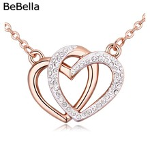 BeBella double heart pendant necklace in gold and rhodium plated for woman bride wedding neckalce jewelry(China)