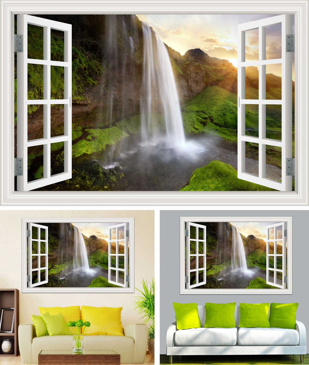 HTB1Lfzub7fb uJkSnaVq6xFmVXaQ - Waterfall 3D Window View Wallpaper Nature Landscape Wall Decals for Living Room