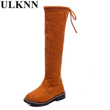 ULKNN Girls knee boots Princess Fasion high boots Children fall and winter Warm Long new Enfant shoes size 28-35 brown red black(China)