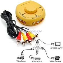 3 Input 1 Output Audio Video AV Signal Selector Switcher Splitter Adapter 3 Way #R179T# Drop shipping