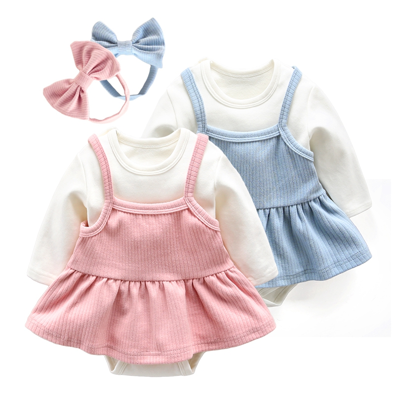 0~1 Years  2pcs Newborn Baby Girls Suit Set Infant Fashion Knitted Romper+ With Cute Skirt Playsuits Jumpsuits Children Clothing<br>