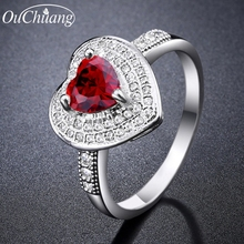 Hot Sale White 3 Colors Created CZ Love Heart Rings For Women Trendy Wedding Engagement Bride Jewelry Best Gift