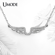 UMODE Angel Wing Genuine Austrian Rhinestones White Gold Color Chain Pendant Necklaces Jewelry for Women Collier Femme UN0221B