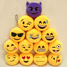 Fashion 1Pc Emoji Emoticon Smile/Funny Face Keychain Pendant Phone Chain Keyring Holder Soft Toy Bag Accessory