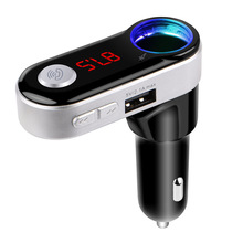 Bluetooth Handsfree Calling FM Transmitter Dual USB Car charger Support TF Card Music Player with cigarette socket For iphone(China)