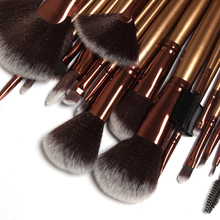 Hot-selling professional 21Pcs Salon Persian Wool Golden Make-up Brushes Set Navy Blue leather Bag(China)
