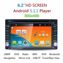 "2 Din 6.2"" Android 5.1.1 Car DVD Player GPS Stereo Radio Player Dual Core Bluetooth WIFI Steering Wheel Control Mirror Link"