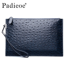 Padieoe Luxury Brand Genuine Leather Men Clutch Bags Unisex Leather Handbags New Fashion Ostrich Pattern Men Clutch Wallet Purse