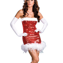 Sexy Adult Women Christmas Fancy Dress Red Strapless Sequins with Hat Halloween New Year Xmas Gift Sexy Miss Santa Claus Costume