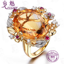 FCGJHW Gorgeous Gold Color Oval Natural Citrine Crystal Finger Rings for Woman Inlay Rhinestones Wedding Ring Fine Jewelry
