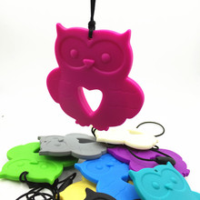 5pcs/lot Newest Silicone owl pendants necklace for baby chew , of owl chewing teether for baby nursing pendant(China)