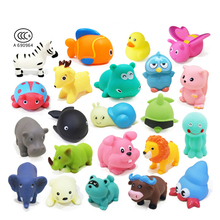 Baby Bath Toys Squeeze Sound Spraying Toys Soft Rubber Duck 7PCS/Lot Mix Animals Water Beach Toys For Children Kids(China)