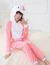 Kigurumi Winter Hello Kitty Onesie Costume For Adult Children Women Pajamas Pyjama Flannel Hooded Clothing(China)