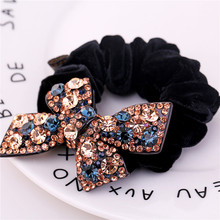 Butterfly Elastic Hair Bands High Quality Fashion Hair Ties for Women and Girls Rhinestone Hair Rope Pony Hair Accessories(China)