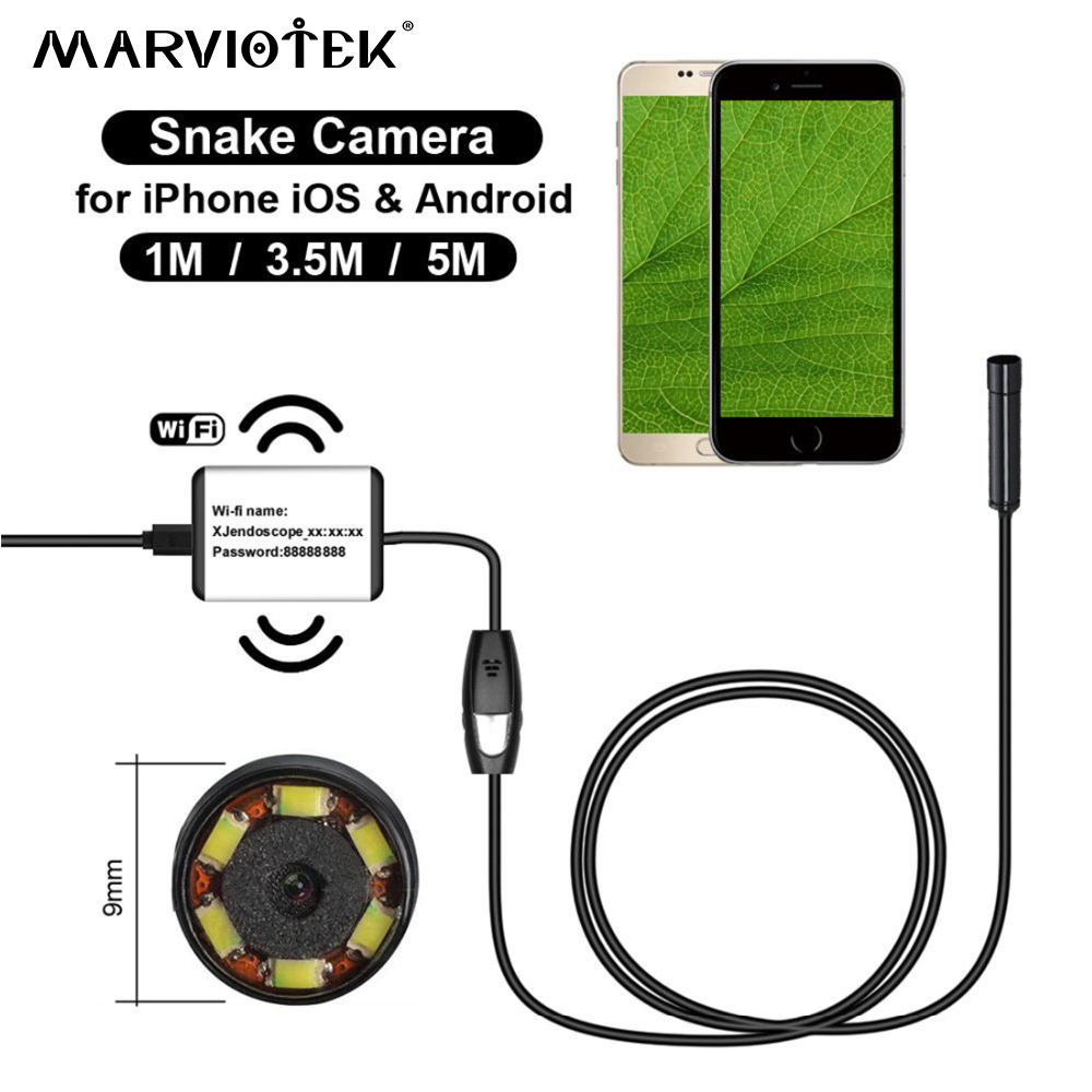 720P wifi endoscope camera 9mm dia android endoscope hd iphone endoscope inspection camera 1/3.5/5M usb endoscope cameras snake<br>