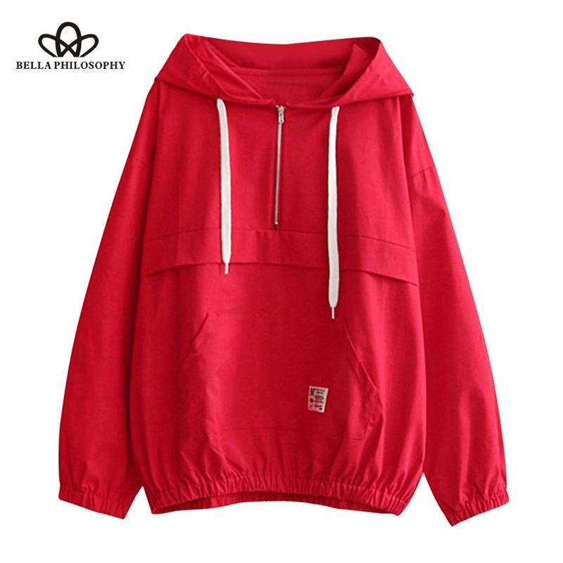 Wonder 2018 new autumn Women Hoodies Sweatshirts Half Zip Patched Pocket Loose Hoodie Long Sleeve Pullover Hooded Outwear tops
