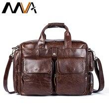 MVA Genuine Leather Business Mens Briefcases Laptop Bags Messenger Bag Men's Shoulder Bag male leather bags briefcase naturally