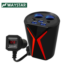 WAYSTAR Car Charger Cigarette Lighter Power Splitter cup holder Car-Charger 6.2A 3 USB 12V-24V For iPhone iPad DVR GPS charge