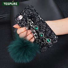 YESPURE Bling Glitter Women Telephone Case for Iphone 6 6s Red Fur Ball Matte Para Star Metal Rope Crystal Phone Accessories