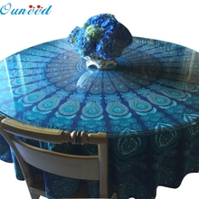 Ouneed Table Cover High Quality Blue Table Cloth Happy Gifts Chiffon Fondos De Pantalla Round Beach Pool Home Blanket Yoga Mat(China)