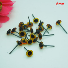 100pcs/50paris Doll Glass Eyes On Wire amber/brown color bears eyes 6mm wholesale