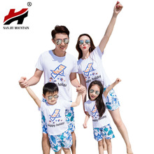Beach Vacation Family Boarded A Family Of Three Family Of Four Home Decoration Printed Pattern Cotton Suit Travel Clothing(China)