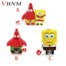 VBNM SpongeBoB and Patrick usb flash drive pen drive pendrive 4GB 8G 16GB 32GB memory stick cartoon with key chain gift(China)