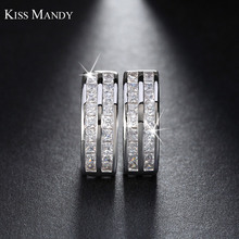 KISS MANDY Romantic Style Silver Earring Hoop Earring with Clear Cubic Zirconia Silver Color Jewelry Woman JE21