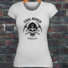 100% Cotton Short Sleeve Tee Shirts MINNESOTA MINER SKULL COAL PICK AXE MOUNTAIN women's T shirt