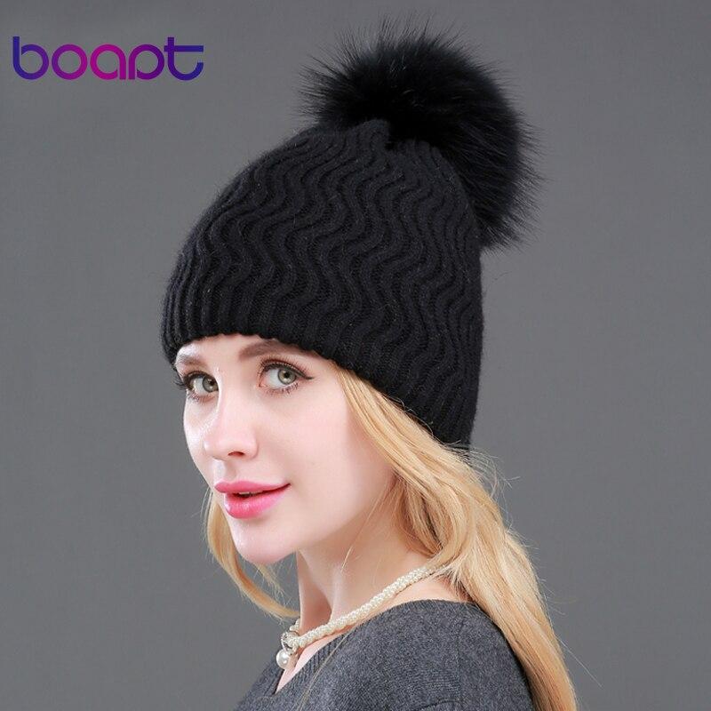 BOAPT Double-deck Real Cashmere Wool Genuine Natural Raccoon Fur Women Hats Wavy Stripes Warm Cap Winter Female Skullies BeaniesОдежда и ак�е��уары<br><br><br>Aliexpress