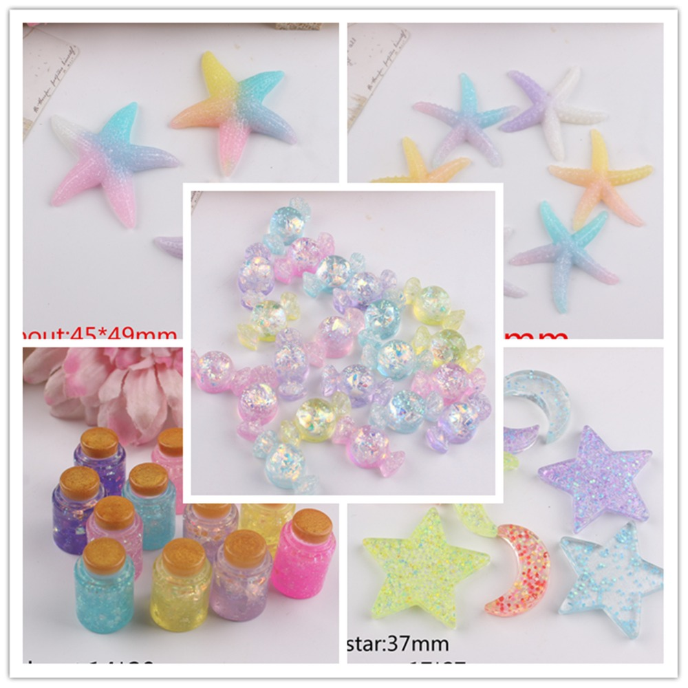 Lilac Purple Lolly Heart Mix Resin Bows Pearl Butterfly Star Gem Flat-Back Craft