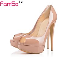 FAMSO Size 34-43 2017 New Color nude Pumps Designer Female Leather Heels 15CM shoes Summer Black Party Platforms Pumps PS3092
