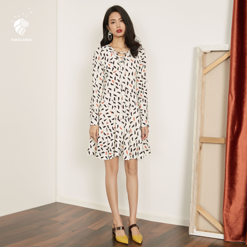 FANSILANEN  New Arrival Fashion Spring/Autumn Elegant Floral Club Dress Party Office Chiffon Female Dresses Women Z72179