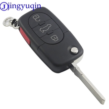 jingyuqin Remote 4 Buttons 3+1 Panic Car Key Fob Cover Shell Case For Audi A4 A6 A8 S4 S6 S8 CABRIOLET ALLROAD TT FLIP FOLDING