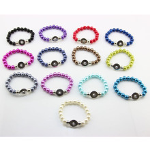 Wholesale Mixed 10pcs Snaps Bracelet Silver Fake Peral Bracelet Elastic Snap Button Bracelets For Women