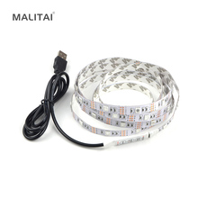 1Pcs DC 5V USB Power Supply Decor RGB LED Strip light lamp Tape SMD 3528 / 5050 50CM 1M 2M Ribbon For TV Background Lighting(China)