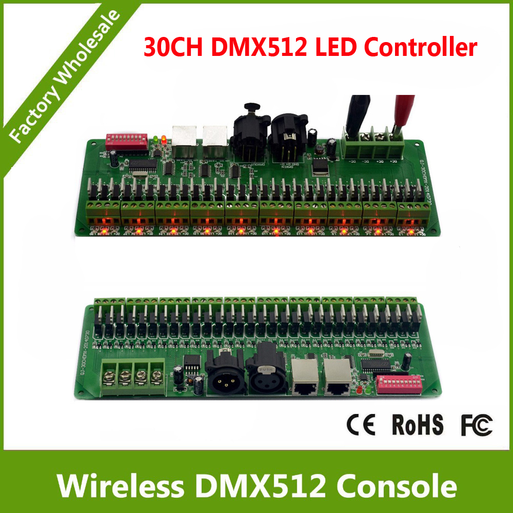 DC9-24V 30 channel DMX rgb led controller 30CH PWM constant dmx decoder<br>