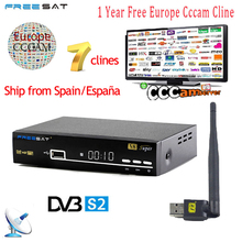 1 Year Europe 7 Clines Cccam Server Spain Italy Arabic Freesat V8 Super DVB-S2 Satellite Receiver Full HD 1080P USB WIFI Antenna