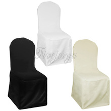 1 Piece White/Ivory/Black Universal Polyester Chair Covers For Wedding Party Banquet Decor(China)