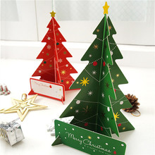 Red + Green Creative Christmas Tree Card Gift Set,3D Stand Up Christmas Cards Wholesale,Idea for Business,Kids Gift(China)
