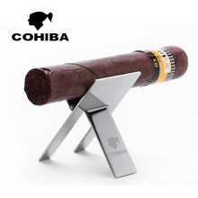 Original COHIBA Stainless steel cigar Cigar Ashtray Holder rack Practical Gadgets Silver High Quality Foldable Cigar stand  tray