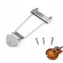 Chrome Guitar Tailpiece Trapeze Open Frame Bridge for 6 String Archtop Guitar(China)