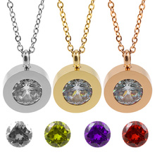 3 Stone Rose gold color Women Trendy Interchange Crystal Stone Necklaces Titanium Stainless Steel Jewelry Pendant Necklace