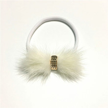 NEW bow headband 100% Fur bow with nylon hairband Gift Photography Props accessories(China)