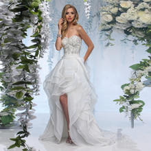 2016 New Design Sweetheart Neck Off The Shoulder Short Front Long Back Wedding Dress With Beading Ruffles Organza Bride Dress