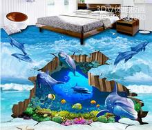 mural wallpaper 3d vinyl floor roll custom 3d floor tiles Dolphins cracked underwater world 3d flooring pvc water wallpaper