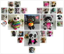 TY BEANIE BOOS 1PC 25CM Plush Toys cecil lion WHISKERS grey schnauzer dog GLAMOUR pink leopard olive penguin bubby larry lynx