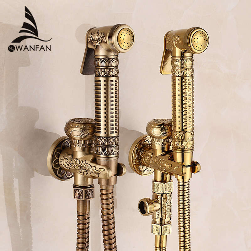 Free Shipping! Modern Golden Brass Bathroom Bidet Faucet Exquisite Carved With Hand Sprayer Gun 8891<br><br>Aliexpress