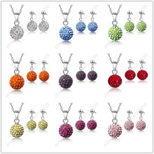 JEXXI Austrian Pave Disco Ball Stud 925 Sterling Silver Earring Pendant Necklace Austria Crystal Woman Jewelry Sets 2016 Gift