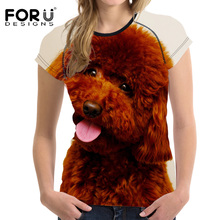 FORUDESIGNS Summer Casual Women T Shirt Brand Clothing 3D Teddy Dog Woman T-shirt Female Shirts Short Sleeved Breath Tees Tops(China)